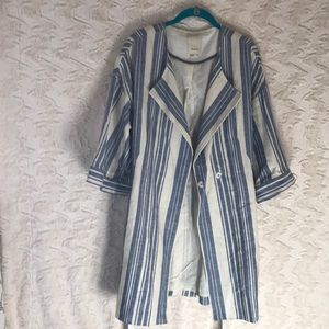 anthro ELEVENS linen blend striped long jacket med